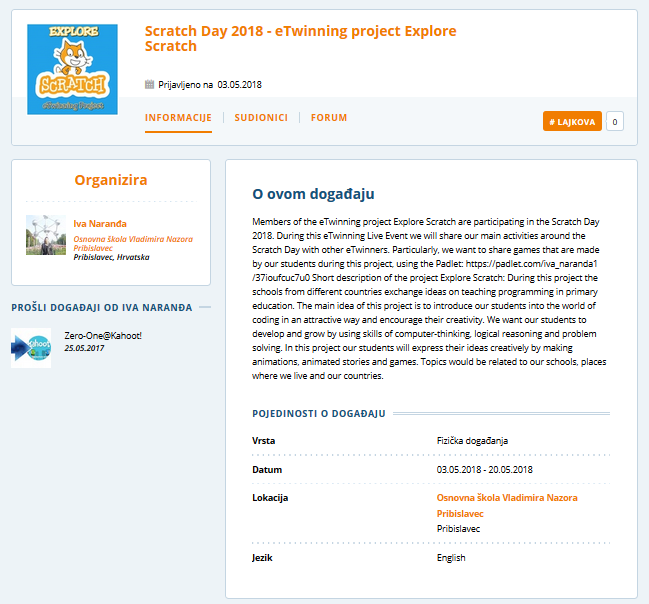 eTwinning Live Event Scratch Day 2018 eTwinning project Explore Scratch