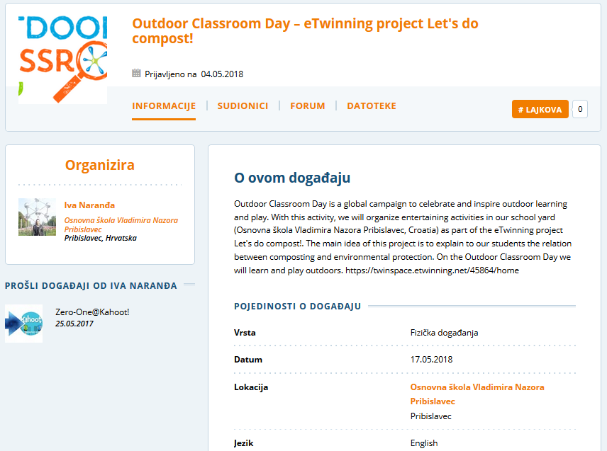 eTwinning Live Event Outdoor Classroom Day